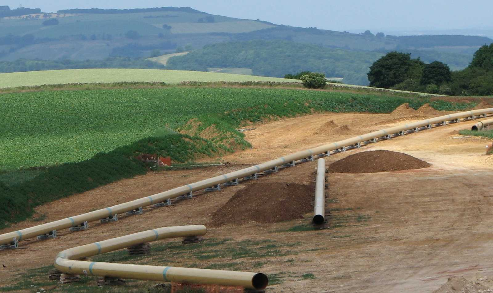 Gas pipeline crossing the Cotswolds
